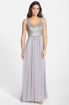 Sue Wong Beaded Bodice Georgette Gown Available At Nordstrom