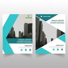 Plantilla de folleto para negocios con formas geométricas turquesa