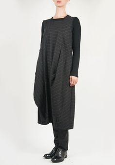 Oska Sleeveless Stripe Dress in Charcoal » Santa Fe Dry Goods | Clothing and accessories from designers including Issey Miyake, Rundholz, Yoshi Yoshi, Annette Görtz and Dries Van Noten