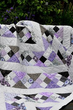 Purple Black and Gray Quilt
