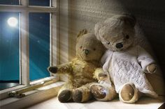 TEDDY BEARS SLEEP BY DAY. BY MOONLIGHT THEY STAY AWAKE TO CHASE AWAY BAD DREAMS
