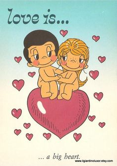 Fantastic 80s Vintage Postcard- Love is... by Minikim and blow a wish in 80's style