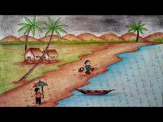 How To draw a Beautiful Scenery of Rainy Season step by step Rainy Day Drawing, Scenery Drawing For Kids, Oil Pastel Drawings, Doodle Drawings, Drawing Lessons, Art Lessons, Rainny Day, Beach Scene Painting, Ganesha Drawing