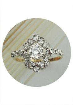 Antique 18K Two Tone Gold & 1.50 cttw Diamond Ring