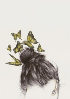 Illustration - illustration - www. illustration : – Picture : – Description www.creativeboysc… -Read More – Illustration Mode, Illustrations, Butterfly Art, Butterfly Braid, Butterfly Sketch, Butterfly Kisses, White Butterfly, Art Design, Painting & Drawing