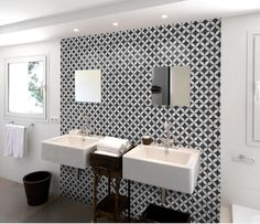 black + white patterned feature wall