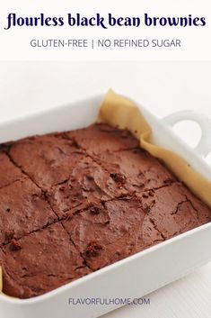 These healthy flourless chocolate bars are sure to satisfy the craving. Easy one-dish, gluten-free dessert with minimal steps made without any flour or refined sugar. Perfect for making ahead and having available as healthy treat throughout the week. #brownies #glutenfree #flavorfulhome #yummy #delicious #healthy #tahini #medjool #dateds #treat #norefinedsugar #easy #recipe #recipes #blackbean #flourless #noflour #dessert #sweet