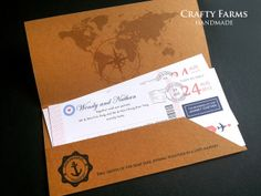 handmade boarding pass invitation | air mail destination theme wedding.