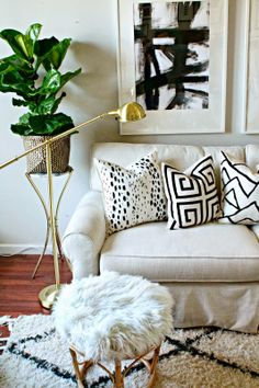love these black and white painted pillows