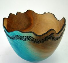 sycamore wood, turned, carved, colored  by Greg Galegos  from etsy shop