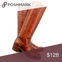 """FRYE Campus Tall BOOTS Saddle 8.5 Brown Frye's quintessential icon, the Campus Boot at full height is sleek, with uninterrupted lines from ankle to calf. A squared off toe (a 60's original), and hidden pulls are just of few of the finer details. 🌟These boots are in gorgeous preloved condition, with minimal wear. 🌟  Heritage leather upper Leather lined Leather outsole Goodyear welt construction Made in USA  13"""" shaft height, 14 3/4"""" shaft circumference 1 3/4"""" heel Frye Shoes Winter & Rain…"""