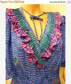 FAB FEBRUARY SALE Mosaic Dress I Magnin Ruffles by WaldportVintage