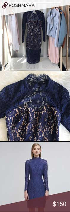 """KEEPSAKE Long Sleeve Blue Lace Dress Absolutely gorgeous.  NWOT. Fitted bodice and pencil skirt  lined with lace overlay. Beautiful back keyhole opening. Model is 5'9"""" and wearing the small. KEEPSAKE the Label Dresses Midi"""