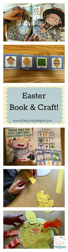 "This Easter lesson includes a free handout of ""There Was An Old Lady Who Swallowed a Chick"" book pictures, sequencing pictures & visual questions to use with your students. Plus an adorable craft to round it out!"