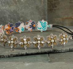 Deepa Gurnani Crystal and Pearl Ellery Headpiece in Silver, Gold or Gunmetal