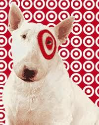 Bullseye is a Miniature Bull Terrier and trademark of the Target Brands, a subsidiary of Target Corporation. It has a pure white coat, and has Target Corporation's bullseye logo painted around its left eye. It is featured in Target's commercial campaigns and in store sale signing and is used in various marketing campaigns.