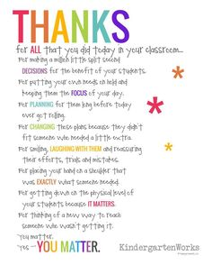 Free Teacher Appreciation Poem - Thanks For ALL you did today! It matters.