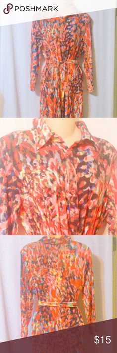 "CAbi Belted Orange Multi Color Knit Shirt Dress This lovely bright multi colored print shirt style dress is made by CAbi and is a size medium. The dress is done in a rayon spandex knit. Measurements are: Bust 42"", waist 40"", hips 44"", length 44"". In excellent condition! CAbi Dresses Long Sleeve"