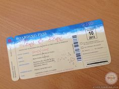 Wedding Boarding Pass Invitation - Designed & Printed by www.madebyhol.co.uk