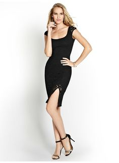 Cap-Sleeve Fitted Dress with Slit