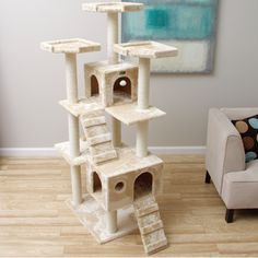 armarkat 74inch beige jungle gym cat tree with 2 condos by armarkat