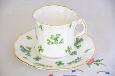Hammersley fine bone china tea cup and saucer/ shamrock pattern/ clover leaf by VieuxCharmes on Etsy