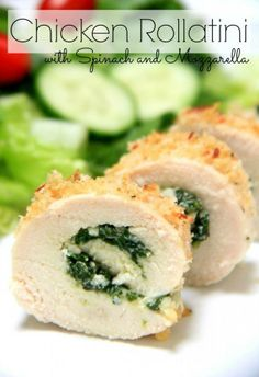 Chicken Rollatini with Spinach and Mozzarella. This healthy dinner recipe is such a great family meal idea! Sandwiches, Empanadas, Charcuterie, Chicken Rollatini, Catering, Crockpot, Food Porn, Cooking Recipes, Healthy Recipes