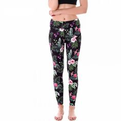 Tropical Flowers with Black Mesh Lines Women's Leggings Printed Yoga Pants Workout $30.99 + FREE Shipping Worldwide
