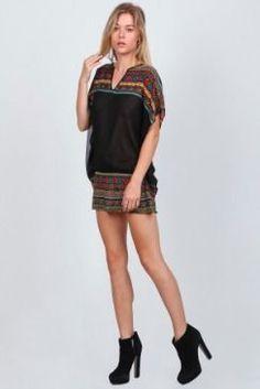 BohoPink - En Créme Black Poncho Print KImono #Top, $38.00 (www.bohopink.com/...)