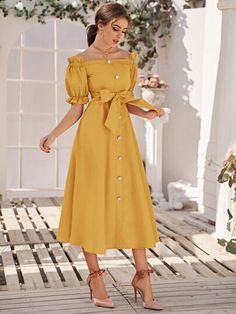 Ruffle Trim Self Belted Bardot Dress Girls Fashion Clothes, Teen Fashion Outfits, Modest Fashion, Look Fashion, Girl Fashion, Fashion Dresses, Fashion Design, Stylish Dresses, Simple Dresses