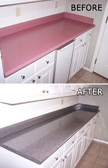 Kitchen Cabinet and Countertop Refinishing & Resurfacing with Permaglaze Using a home decorating cat Refinish Countertops, Countertop Makeover, Painting Countertops, Paint Kitchen Countertops, Laminate Cabinet Makeover, Laminate Cabinets, Concrete Countertops Over Laminate, Paint Formica, Rustoleum Countertop