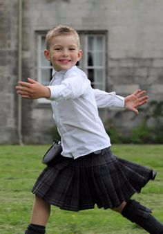 Ollie wore a Highland Granite kilt to his parent's wedding in Glasgow. Boys Dress Outfits, Men Dress, Girls Dresses, Fashion Outfits, Boys Kilt, Scottish Skirt, Kilt Hire, Wedding Outfit For Boys, Boys Wearing Skirts