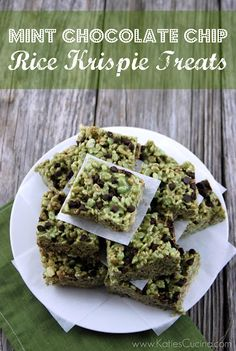 Mint Chocolate Chip Rice Krispie Treats... For the hubby, and I wouldn't eat these, win-win!