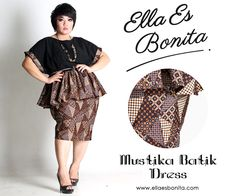 Mustika Batik Dress - This shirt and skirt features high quality batik cotton and twill cotton for tops and batik cotton for pencil skirt which specially designed for sophisticated curvy women originally made by Indonesian Designer & Local Brand: Ella Es Bonita. Available at www.ellaesbonita.com