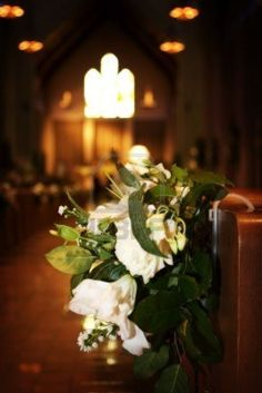 Wedding Flowers In A Church On The End Of The Pew Royalty Free Stock Photo, Pictures, Images And Stock Photography. Pew Flowers, Church Flowers, Wedding Flowers, Wedding Photo List, Wedding Photos, Wedding Things, Our Wedding, Flower Ideas, Pictures Images