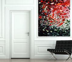 Abstract Giclée Print Original Modern Print Contemporary Expressionist Print Extra Large Wall Art Oil Painting Red Green Leaf Vivid Color