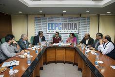 Shri Arun Kumar Garodia, Regional Chairman, EEPC India (ER) is chairing the meeting. On his right-Mr. B N Agarwal, Director, RB Agarwalla & Company Pvt Ltd; Mr. B D Agarwal, Dy Regional Chairman, EEPC India (ER) and on his left – Mrs. Anima Pandey, Regional Director, EEPC India (ER); Mr. G K Madhogaria, Dy Regional Chairman, EEPC India (ER); Mr. O P Agarwal, Director, RBA Ferro Industries Pvt Ltd
