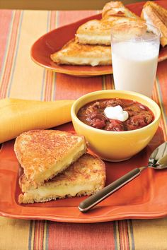 """Extra Cheesy Grilled Cheese - Budget-Friendly Quick-Fix Meals - Southernliving. Recipe: Extra Cheesy Grilled Cheese  Online User Comment: """"I made these with sourdough and they were amazingly delicious. Then again, how can you go wrong with butter and cheese :)"""" -tobey"""