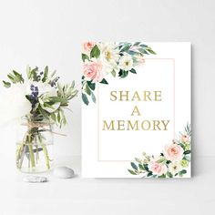 The floral share a memory sign commemorates your loved one with gold lettering and blush florals, making this the perfect commemorative for your loved one. All signs are printed on our 240# double thick paper, so they are thick enough to stand on their own, once propped on a rest. You can also add this to a frame if you prefer