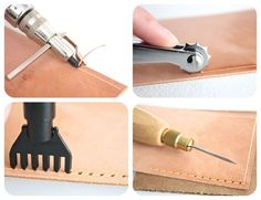 Sewing Techniques Couture How to Prepare Leather for Sewing: 6 Steps (with Pictures) Leather Art, Sewing Leather, Leather Tooling, Leather Jewelry, Leather Crafts, Stitching Leather, Diy Leather Projects, Leather Craft Tools, Leather Totes