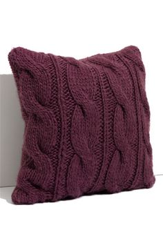 Purple cable knit throw pillow... i made one similar to this