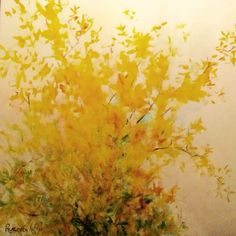 Thinking of spring, needed to paint springlike colours so I chose Forsythia in bloom.