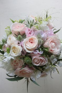 The Flower Magician: A Beautiful Soft Pink & Ivory Wedding Bouquet of Roses, Lily of the Valley & Sweet peas