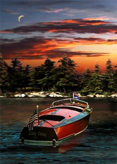 Chris Craft Poster Vintage Wooden Boat at Sunset by Paul Bailey 5180