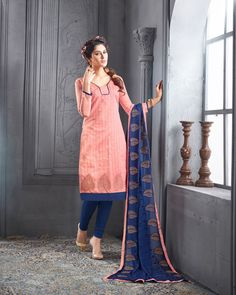 Peach Chanderi Cotton Churidar Suit 69831