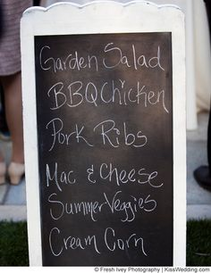 Idea: Keep the menu casual for an affordable, fun backyard wedding reception. PLUS, a fun way to present the wedding
