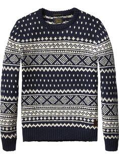 Crew Neck Intarsia Pullover | Pullover | Men's Clothing at Scotch & Soda