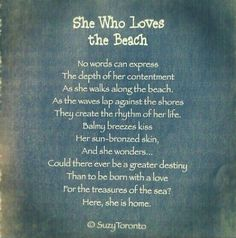 """She who loves a beach""  (by Suzanne Toronto)"