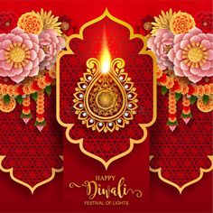 Illustration about Happy Diwali festival card with gold diya patterned and crystals on paper color Background. Illustration of cultural, auspicious, floral - 128641431 Feliz Diwali, Happy Diwali, Diya Rangoli, Diwali Festival, Festival Lights, Clay Art, Culture, Ornaments, Crystals