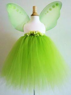 Baby Girls Tinkerbell Tutu Dress Skirt Costume Green Fairy Wings 0 Month Size 8 | eBay